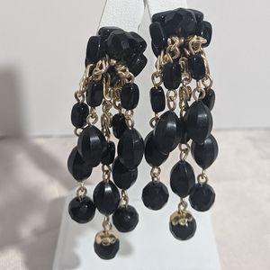 Vintage Mid Century Black & Gold Dangle Earrings